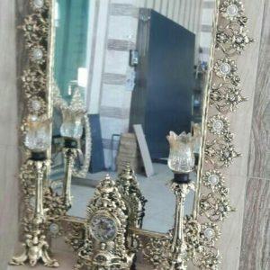 آینه شمعدان برنزی پرکاره پایه کوتاه تاجدار