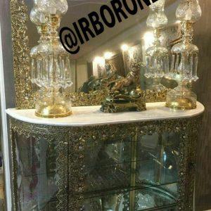 آینه شمعدان برنجی ویترین دار ۲درب از بغل