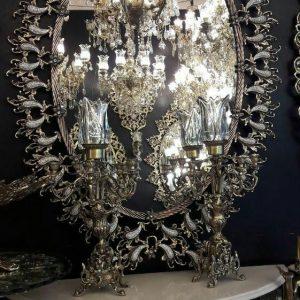 آینه شمعدان برنزی بادمجونی نگین خور
