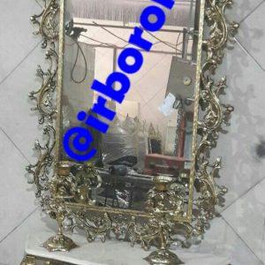 آینه شمعدان برنزی پیچک مستطیل
