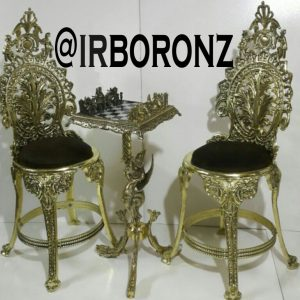 میز و صندلی برنجی شطرنج مدل بانو