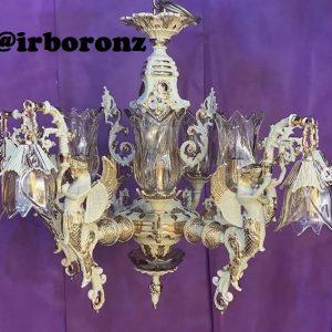 لوستر برنزی فرشته رومی طرح طلا