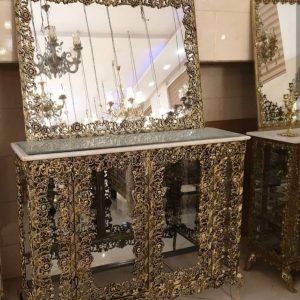 آینه شمعدان برنجی مدل پرکار