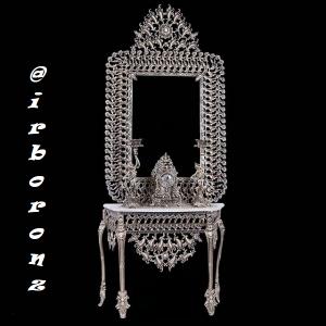 آینه شمعدان برنزی مدل بادمجانی پر کار سفارشی
