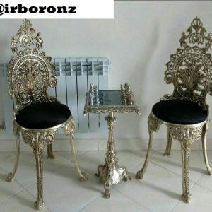 صندلی تک و میز شطرنج برنزی مدل تاجدار