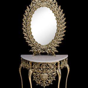 آینه و کنسول برنزی  بیضی مدل یاس دوبل  طلایی