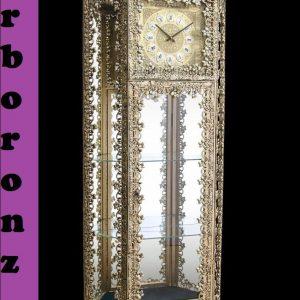 بوفه ساعت دار  برنزی مدل ذوزنقه تاجدار