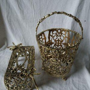 سطل و دستمال برنزی مدل پاپیون