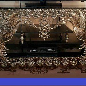 میز ال سی دی برنزی مدل سیمرغ دو کشو