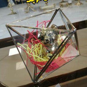 گلدان رومیزی برنزی چند ضلعی مدل کوچک