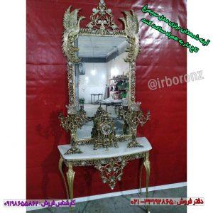 آینه شمعدان برنزی مدل سیمرغ تاج دار به همراه ساعت کنت